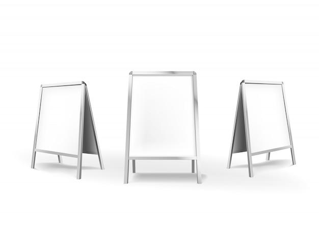 Pusty szyld chodnik kryty wewnątrz. stojak reklamowy na stojaku reklamowym. ilustracja na białym tle.