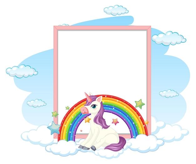 Pusty transparent z cute pegaz postać z kreskówki na białym tle