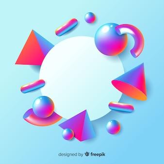 Pusty transparent z trójwymiarowymi geometrycznymi kształtami