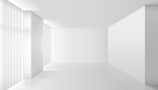 Pusty wektor białe wnętrze. ściana i podłoga, czyste mieszkanie, design i minimalizm