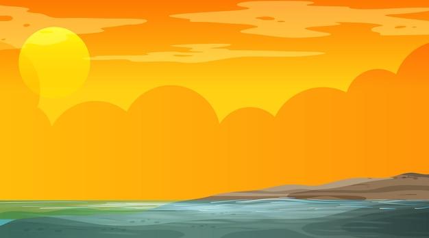 Pusty zalany krajobraz na scenie w czasie zachodu słońca
