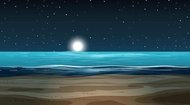 Pusty zalany krajobraz w nocnej scenie