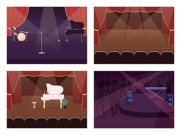 Pusty zestaw kolorów płaski sceny muzycznej. spotlight na koncert na żywo. występ i impreza. sala muzyczna 2d kreskówka wnętrze z instrumentami muzycznymi na tle kolekcji