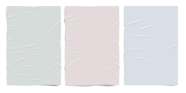 Pusty źle sklejony papier tekstury, pastelowe kolory, mokre pomarszczone arkusze papieru, realistyczny zestaw wektorowy.