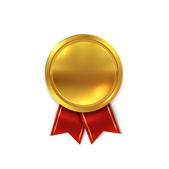 Pusty złoty medal. błyszcząca złota round foka dla świadectwa lub zwycięzcy gwiazdy nagrody realistycznej ilustraci
