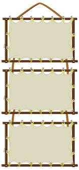 Pusty znak szablon z drewnianymi ramami na białym tle