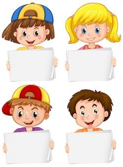 Pusty znak szablon z szczęśliwych dzieci na białym tle
