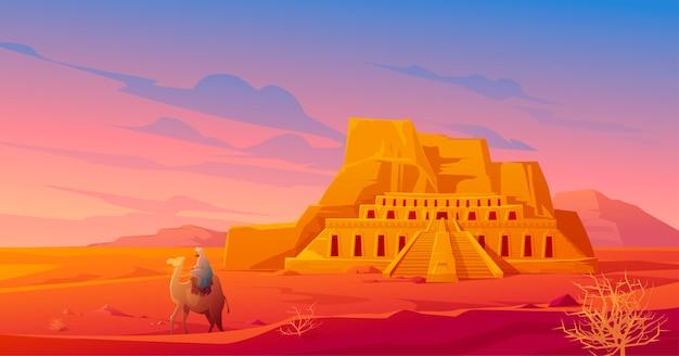 Pustynia egipt z świątynią hatszepsut i wielbłądem