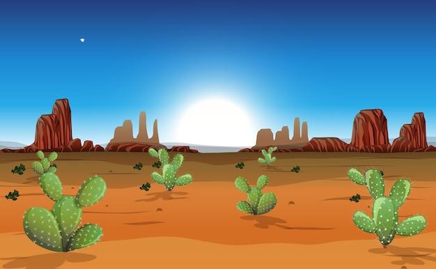 Pustynia z górami skalnymi i krajobrazem kaktusów w scenie dnia