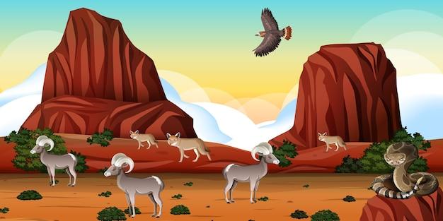 Pustynia z górami skalnymi i krajobrazem zwierząt pustynnych na scenie dnia
