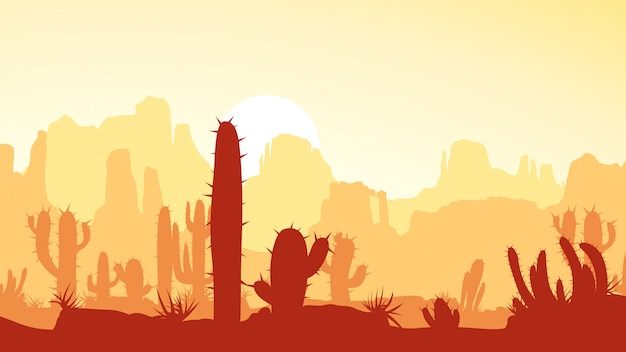 Pustynia z kaktusem przy zmierzchem