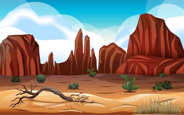 Pustynia z krajobrazem gór skalnych na scenie dnia