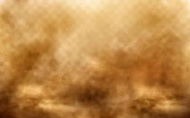 Pustynna burza piaskowa, brązowa zakurzona chmura na przezroczystym