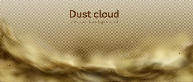 Pustynna burza piaskowa tło, brązowa zakurzona chmura na przejrzystym