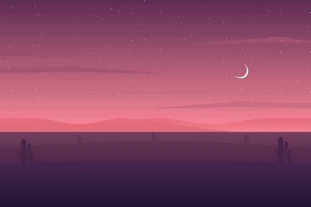 Pustynna krajobrazowa ilustracja z gwiaździstym nocnym niebem