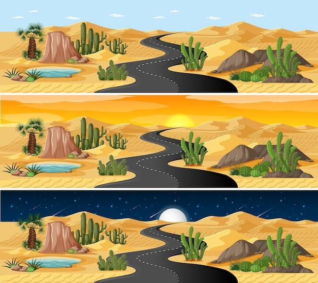 Pustynna scena krajobrazowa o różnych porach dnia