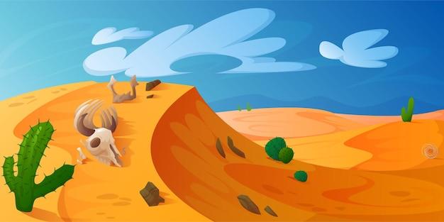 Pustynna wydma ze złotym piaskiem zwierzęcej czaszki kaktusów