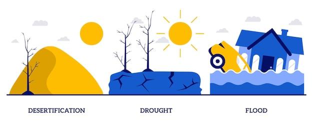 Pustynnienie, susza, koncepcja powodzi z małymi ludźmi. konsekwencje zmiany klimatu streszczenie wektor zestaw ilustracji. tsunami, cyklon tropikalny, metafora ekstremalnych warunków pogodowych.