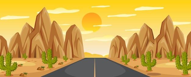 Pustynny krajobraz drogowy o zachodzie słońca
