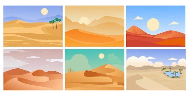 Pustynny krajobraz. kreskówka tropikalne egzotyczne sz horyzont piasku i gorące świecące słońce.