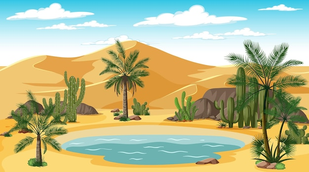 Pustynny krajobraz leśny w scenie dziennej z oazą