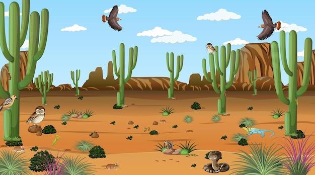 Pustynny krajobraz leśny w scenie dziennej z pustynnymi zwierzętami i roślinami