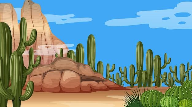 Pustynny krajobraz leśny w scenie dziennej z różnymi roślinami pustynnymi