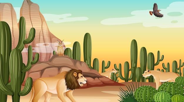 Pustynny krajobraz leśny w scenie dziennej z upartymi zwierzętami