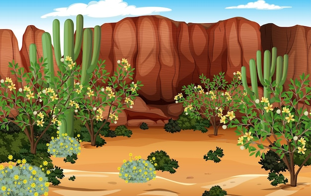Pustynny krajobraz leśny w scenie dziennej z wieloma kaktusami