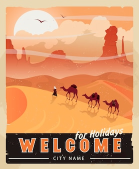 Pustynny krajobraz. plakat pustynnego safari. projekt plakatu z wakacji w egipcie.