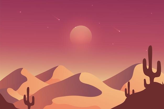 Pustynny krajobraz tło do wideokonferencji, księżyc i kaktus