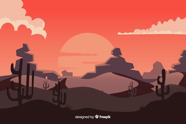 Pustynny krajobraz z dużym słońcem