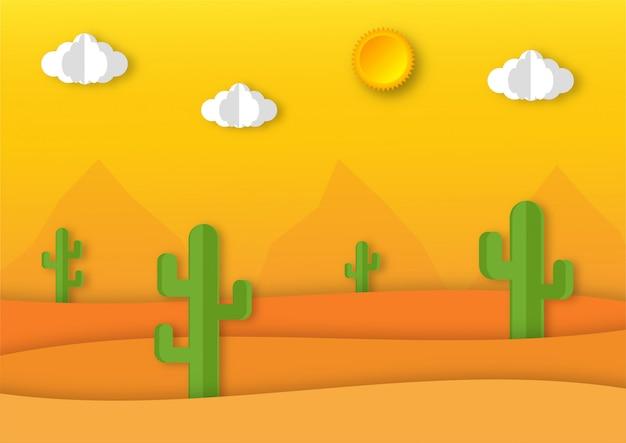 Pustynny krajobraz z kaktusa papieru w stylu sztuki tła.