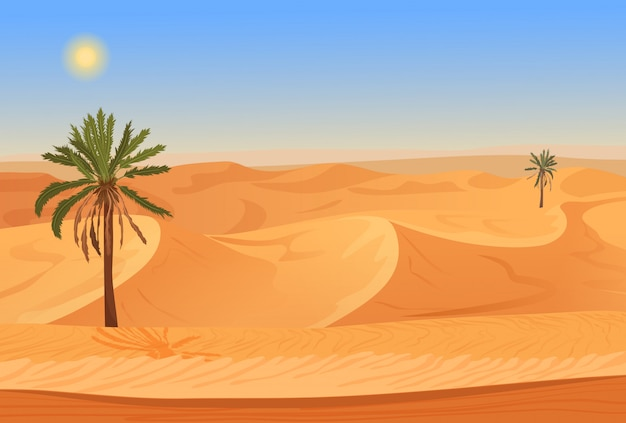 Pustynny krajobraz z palmami
