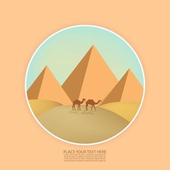 Pustynny krajobraz z piramidami i wielbłądami