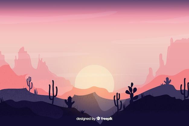 Pustynny krajobraz z różowym niebem