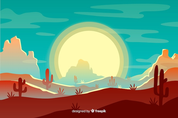 Pustynny krajobraz z słońcem i niebieskim niebem