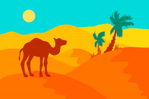 Pustynny krajobraz z wielbłądem, palmami i słońcem.