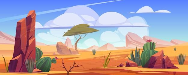 Pustynny krajobraz ze skałami, tropikalnym drzewem, trawą i kwitnącymi kaktusami.