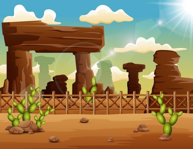 Pustynny krajobrazowy tło z skałami i kaktusem
