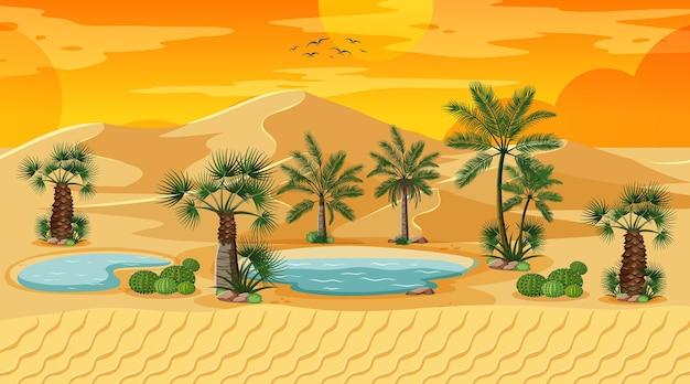 Pustynny las krajobraz na scenie zachodu słońca z oazą
