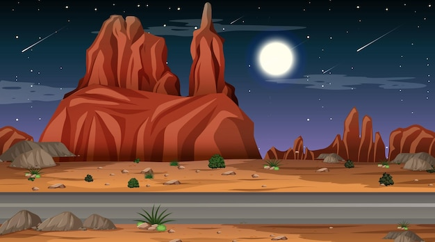 Pustynny las krajobraz w nocnej scenie z długą drogą