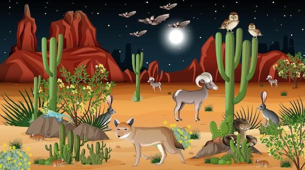 Pustynny Las Krajobraz W Nocnej Scenie Z Dzikimi Zwierzętami Darmowych Wektorów