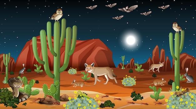 Pustynny las krajobraz w nocnej scenie z dzikimi zwierzętami