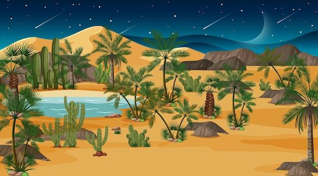 Pustynny las krajobraz w nocnej scenie z oazą