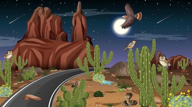 Pustynny las krajobraz w nocnej scenie z pustynnymi zwierzętami i roślinami