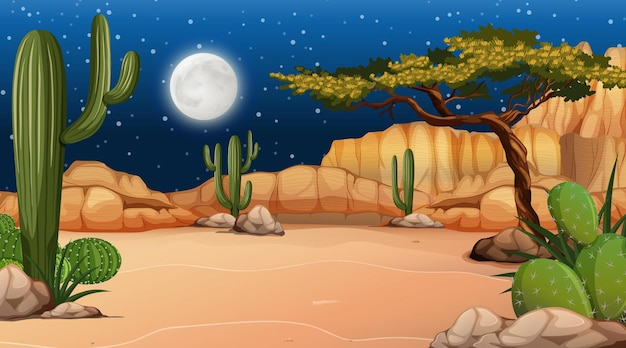Pustynny las krajobraz w nocnej scenie z wieloma kaktusami