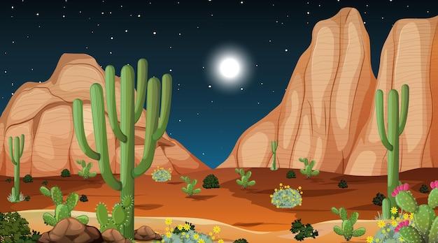 Pustynny las krajobraz w nocnej scenie