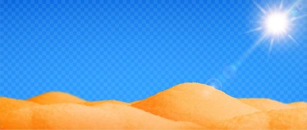 Pustynny realistyczny krajobraz z przezroczystym piaskiem i słońcem