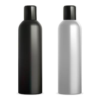 Puszka aerozolu. dezodorant w sprayu . aluminiowa butelka na lakier do włosów, realistyczny czarno-biały szablon
